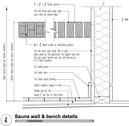 ... you get the gist. The detail below covers the bench and wall assembly