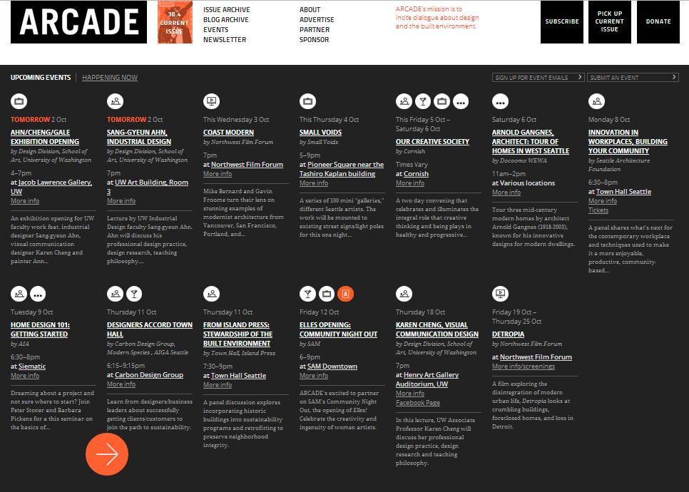event calendar for website