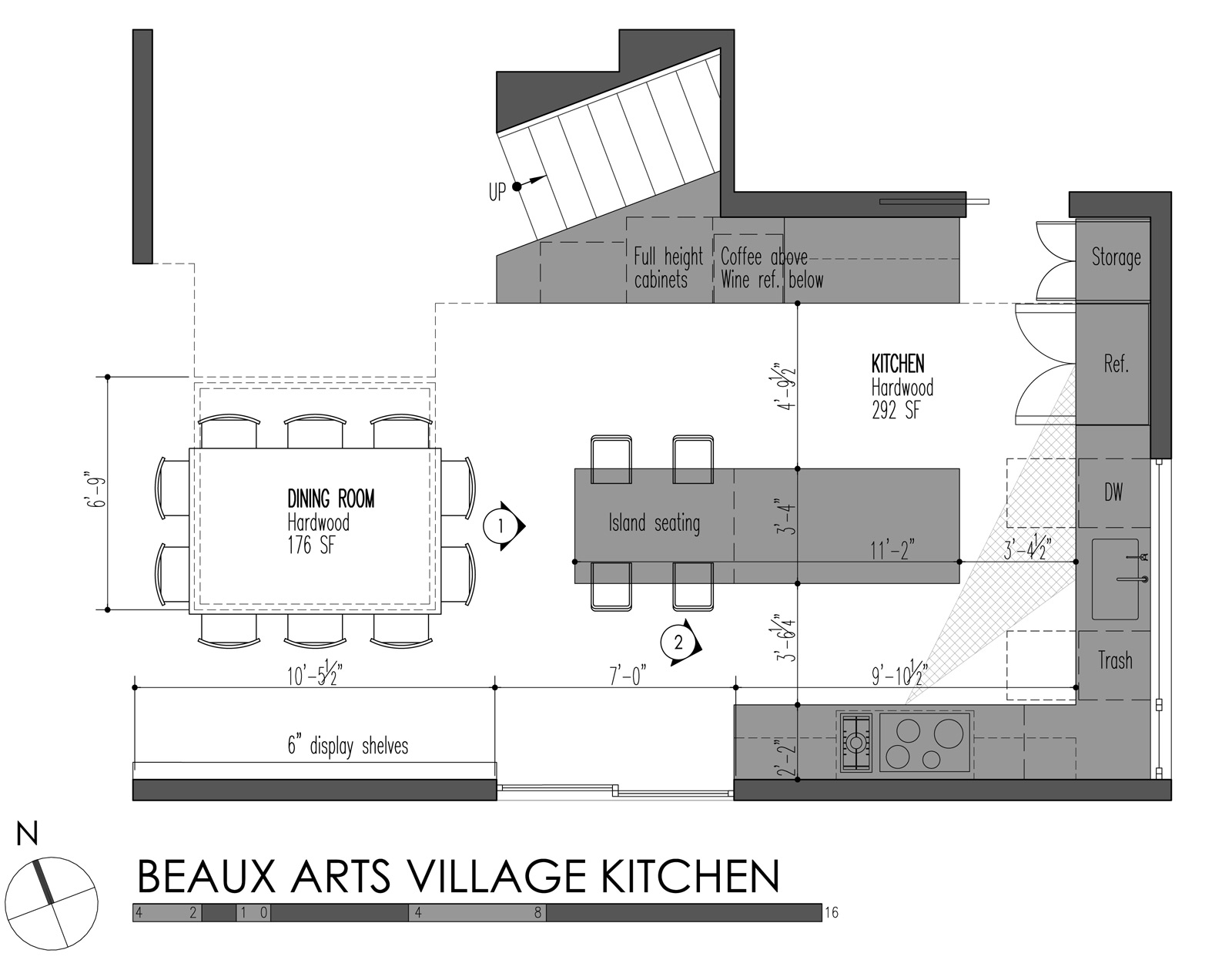 build llc beaux arts village kitchen plan - Standard Depth Of Kitchen Cabinets