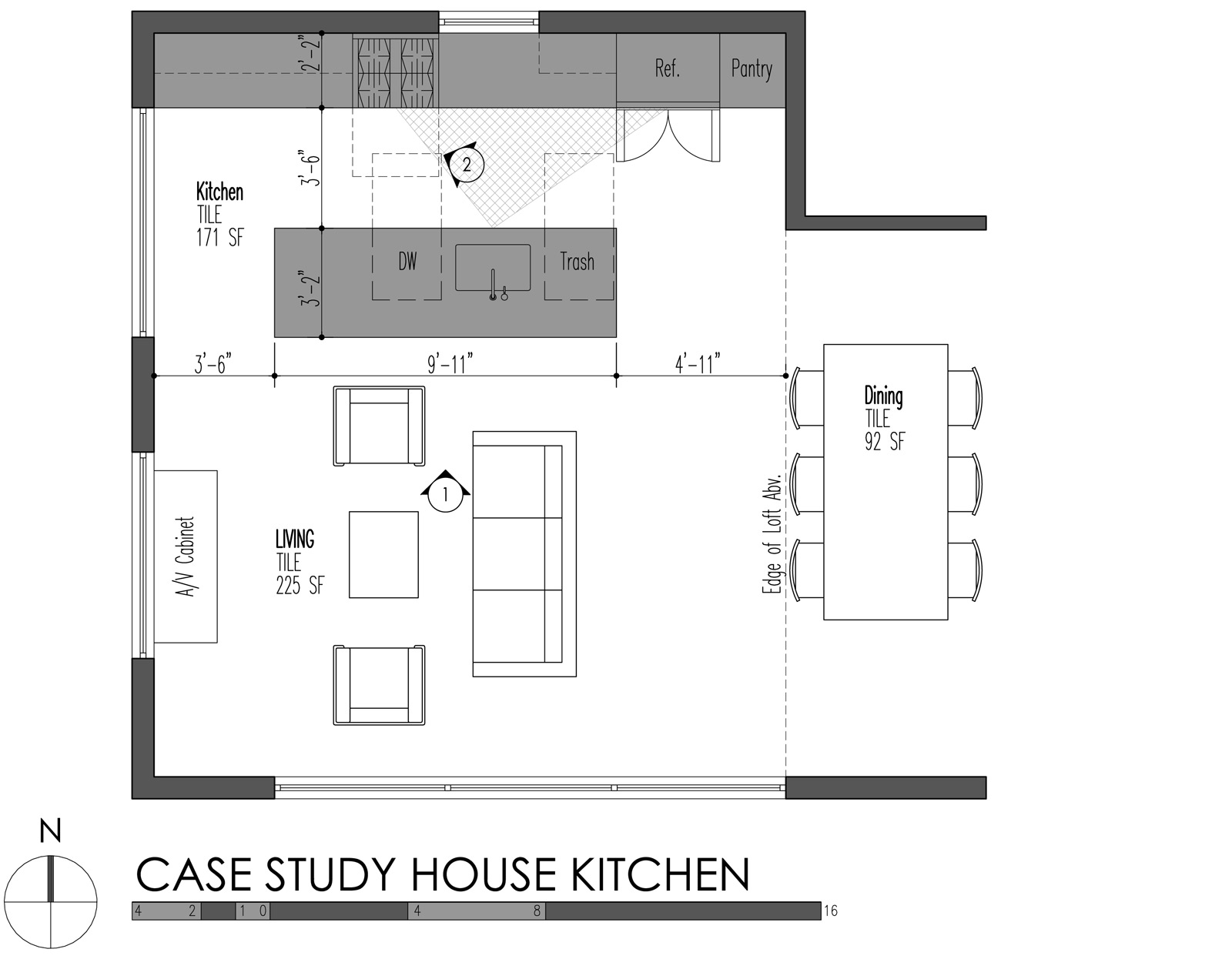 Island kitchen layout drawing - Build Llc Case Study House Plan