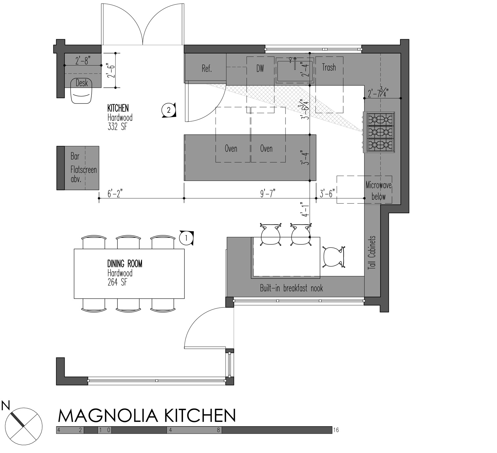 Island kitchen layout drawing - Build Llc Magnolia Kitchen Plan