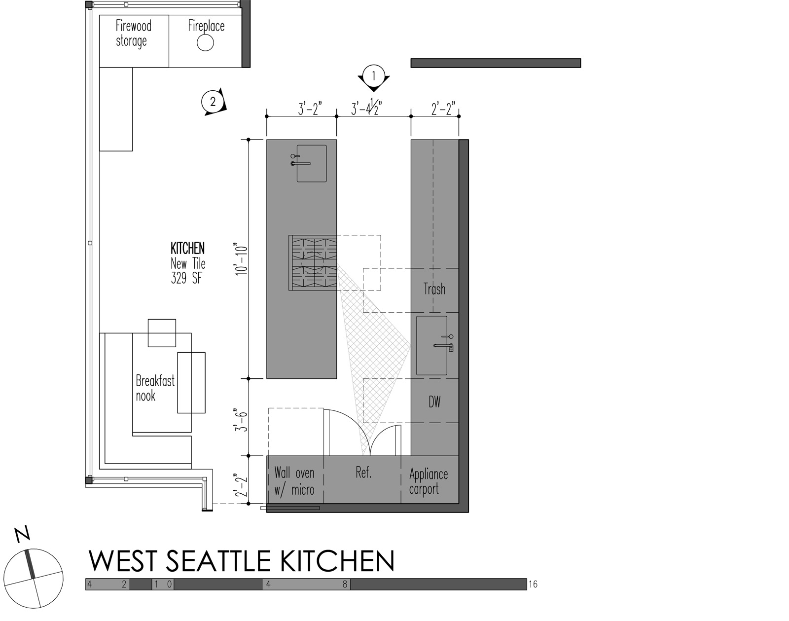 west seattle kitchen plan - Standard Depth Of Kitchen Cabinets
