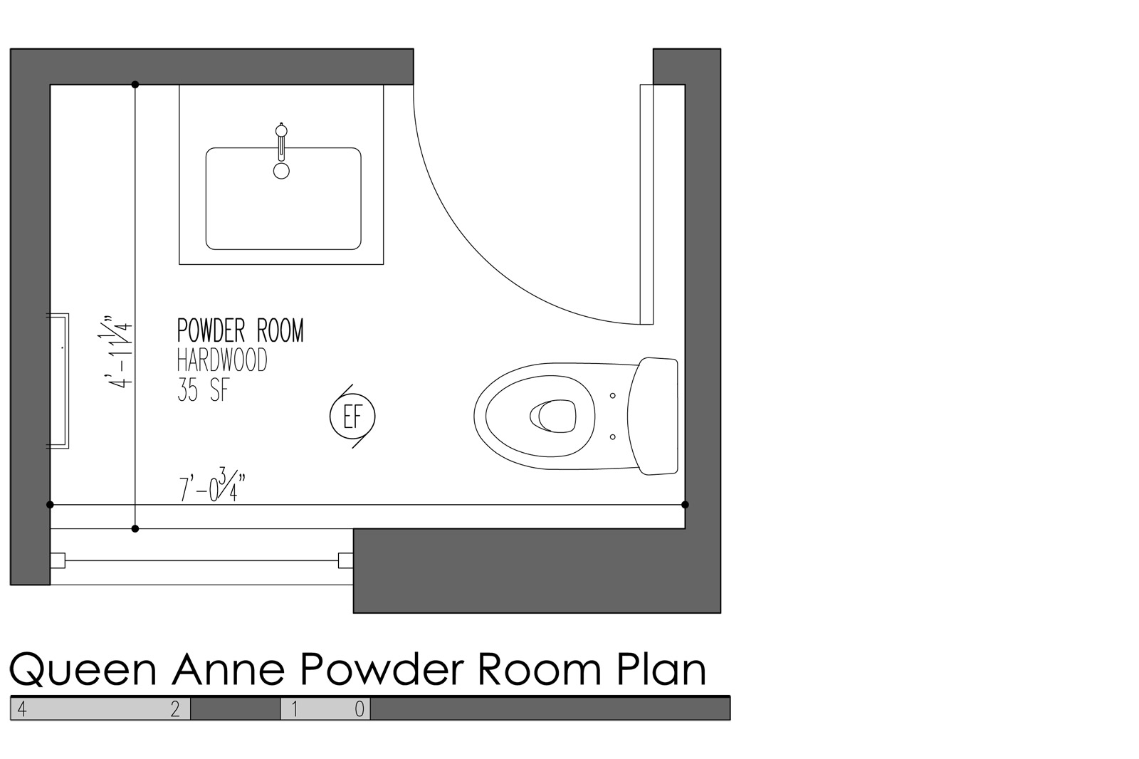 Small powder room design layout for Smallest powder room size